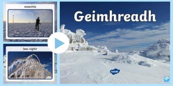 An Geimhreadh Photo PowerPoint Gaeilge - ROI - An Geimhreadh, Irish, Gaeilge, winter, weather, aimsir, Irish