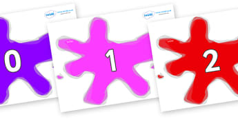 Numbers 0-100 on Splats - 0-100, foundation stage numeracy, Number recognition, Number flashcards, counting, number frieze, Display numbers, number posters
