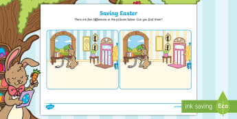 Saving Easter Spot the Difference Activity Sheet - Children's books, worksheet, easter, bunny, game, eggs,