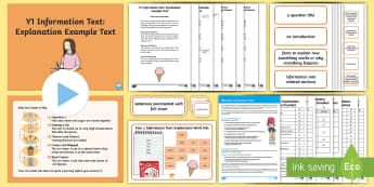 Y1 Information Texts: Explanation Example Text - Example Texts Y1, exemplification, moderating, moderation, WAGOLL, non-fiction, sample, genre, examp