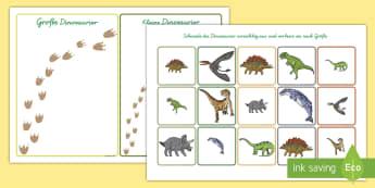 Dinosaurier nach Größe Ordnen Arbeitsblatt-German - Dinosaurier nach Größe Ordnen Arbeitsblatt, Dinosaurier Ordnen, Dinosaurier, Zuordnen, Nach Größ