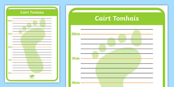 Cairt Tomhais Shoe Shop Role Play Foot Measuring Chart Gaeilge - irish, gaeilge, Shoe shop, shoes, role play, shop, trainers, display, poster, shoe box, labels, measuring chart, word cards