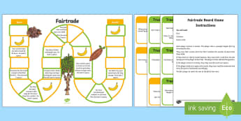 Fairtrade Board Game - Fairtrade, chocolate, bananas, football, symbol, board game, fair trade, jungle, farming, farmers, s
