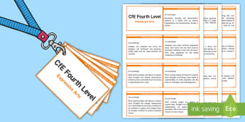 CfE Fourth Level Expressive Arts Lanyard-Sized Benchmarks - CfE Benchmarks, tracking, assessing, progression, art and design, drama, dance, music,Scottish