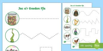 Taflenni Gweithgaredd Sgiliau Torri Jac a'i Goeden Ffa - jack and the beanstalk, jac a'r goeden ffa, stori, story, growing, sgiliau torri, cutting skills,W
