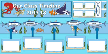 Our Class Timeline 2017 to 2018 Ocean Themed Display Pack - CfE Class Display, under the sea, oceans, back to school display, new class, Scottish