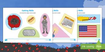 Memorial Day Cutting Skills Activity Sheet - Memorial Day, cutting skills, Pre-K cutting skills, patriotic, scissor skills, fine motor practice.