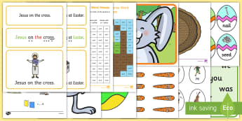 Easter Themed Phase 3 Phonics Resource Pack - Phonics, phase 3, digraph, trigraph, sound, Easter, egg, bunny, rabbit,