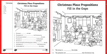 Christmas Place Prepositions   Fill in the Gaps Activity Sheet