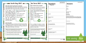 Earth Day Differentiated Reading Comprehension Activity English/Portuguese - KS1, Earth Day, Environment, Pollution, Trees, Deforestation, Earth, Planet, Animals, Habitat, Carbo