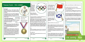 Scottish Significant Individuals Eric Liddell Information Sheet  - CfE Scottish Significant Individuals, Eric Liddell, Famous Scots, Fact card, Scottish Olympian, Scot