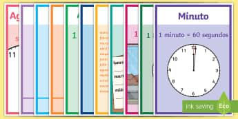 Pósters DIN A4: Unidades de tiempo - unidades de tiempo, la hora, medida, tiempo, reloj, relojes, póster, pósters DIN A4, DIN A4, expos