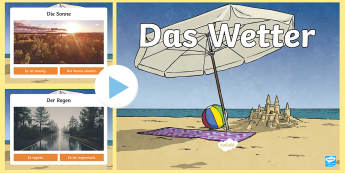 Weather Vocabulary PowerPoint - Weather, German, Wetter, Bingo, Basic phrases