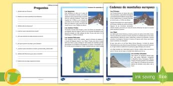 Comprensión lectora: Cadenas de montañas europeas - cordilleras, europa, cumbre, , alpes, pirineos, urales, cárpatos, comprensión, sociales, ciencias,