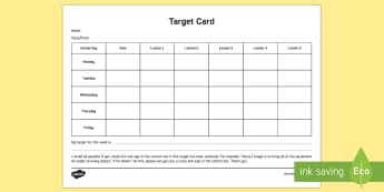 Target Card Young People & Families Case File Recording Planning Template - target, behaviour, review, monitor, track, check,