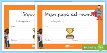 Diplomas: Día del Padre - día del padre, padre, papá, papi, diploma, premio, regalo,,Spanish