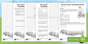 Year 6 Tour de France Co-ordinates, Translation, Rotation and Reflection Differentiated Activity Pack - English - reflection, translation, shape, position and direction, geometry.