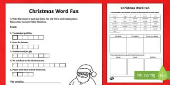 Christmas Word Fun Activity Sheet-Australia