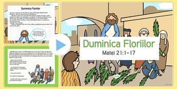 Istoria Duminicii Floriilor - duminica floriilor, powerpoit, paste