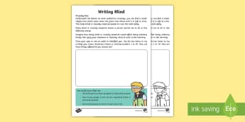 Writing Blind Activity Sheet - Amazing Fact Of The Day, activity sheets, powerpoint, starter, morning activity, worksheet, January, - Amazing Fact Of The Day, activity sheets, powerpoint, starter, morning activity, worksheet, January,