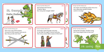 St. George's Day Maths Challenge Cards - KS1, Year 1, Year 2, Maths, Saint George, St George, Patron Saint, Saint, England, April, Number, Ad