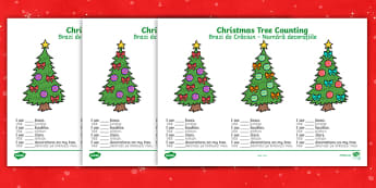 Christmas Tree Counting Worksheets English/Romanian - Christmas Tree Counting Worksheets - christmas, coutning, maths, chritmas, countng, couting, chriatm