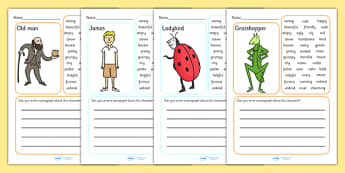 Character Description Writing Frame to Support Teaching on James and the Giant Peach - writing frame, character description, james and the giant peach, character, story book