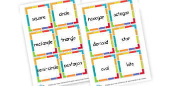 3D Shapes Cards - 3D Shape Keyword Primary Resources, spaces, measures, shapes