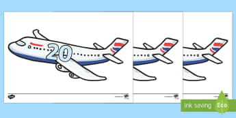Tens on A4 Aeroplanes - tens, aeroplanes, airplane, display, numbers, a4, maths, mathematics, numeracy