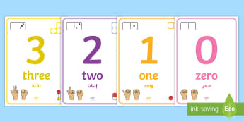 0 to 10 Number Display Posters Arabic/English - 0-10, numbers to 10, maths, maths display, maths posters, counting, number recognition EAL,Arabic-tr