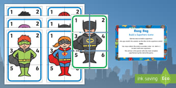 Build a Superhero Game Numeral Version Busy Bag Prompt Card and Resource Pack - Superheroes, superhero, dice, number, superman, batman, spiderman, hero, count, dice