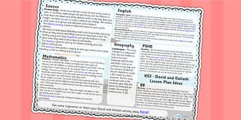 David and Goliath Lesson Plan Ideas KS2 - david, goliath, RE, KS2