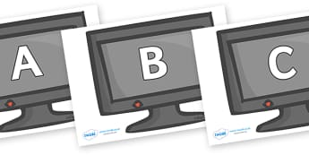 A-Z Alphabet on Computer Monitors - A-Z, A4, display, Alphabet frieze, Display letters, Letter posters, A-Z letters, Alphabet flashcards