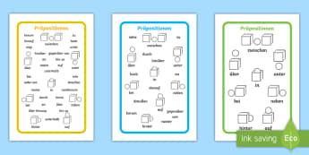 Präpositionen Wortschatz Wort- und Bildkarten - Präpositionen, Wortschatzsammlung, Wortkarten, Bildkarten, Positionen, Aufsatz schreiben,,German