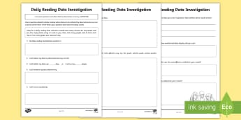 Daily Reading Data Investigation Activity Sheet - ACMSP118, Data, Data Investigation, Data Collection, Pose Question, worksheet, Collect Data, Data Su