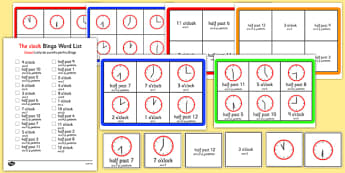 Half Past and O'Clock Times Bingo Romanian Translation - romanian, Time bingo, time game, Time resource, Time vocabulary, clock face, Oclock, half past, quarter past, quarter to, shapes spaces measures