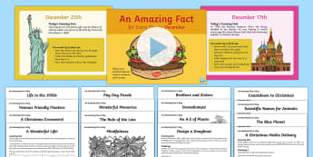 December Amazing Fact Of The Day PowerPoint and Activity Sheets Pack-Australia - Amazing Fact Of The Day, activity sheets, powerpoint, starter, morning activity, December ,Australia
