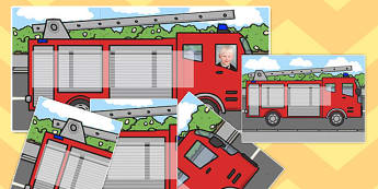 Fire Engine Themed Individual Visual Timetable - fire engine