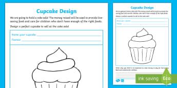 KS1 Design a Cupcake Activity Sheet - EY/KS1 Unicef, worksheet