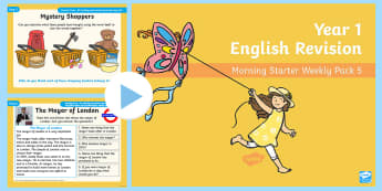 Year 1 English Revision Morning Starter Weekly (5) PowerPoint Pack - Spelling, Grammar, Reading, Writing, SPaG, morning task