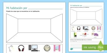 My Bedroom Activity Sheet - Spanish Vocabulary, bedroom, home, house, activity, sheet