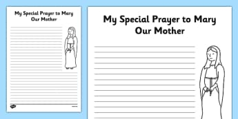 Prayer Template My Prayer to Mary Our Mother - Mary, Our Lady, May, Mary in May, hail mary, religion, may altar, prayer, activity sheet, sacred space