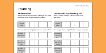 KS3_KS4 Maths Student Led Practice Sheets Rounding - maths, KS3, KS4, GCSE, worksheet, practise, independent, growth mindset, rounding, integers, whole numbers, decimals, significant figures, approximation,