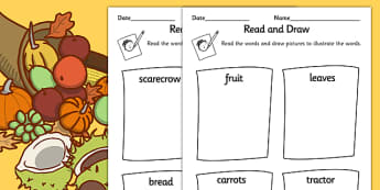 Harvest Differentiated Read And Draw Activity Sheet Pack - autumn, seasons, worksheet