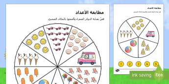 نشاط مطابقة الأعداد من خلال موضوع الصيف - summer, matching, pegs, summertime, Timw, matching, wheel, Arabic