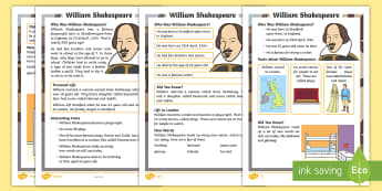 KS1 William Shakespeare Differentiated Fact File - KS1, year 1, year 2, yr 1, yr 2, reading comprehension, differentiated reading comprehension, readin