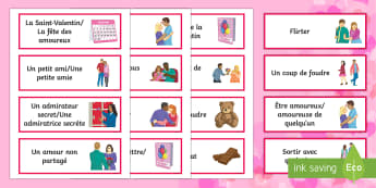 Valentine's Day Word Cards - Valentine's Day, French, 14th February, Saint Valentin, word, cards, vocabulaire