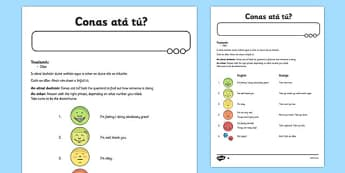 Conas atá tú? Game Gaeilge - how are you, game, gaeilge, activity