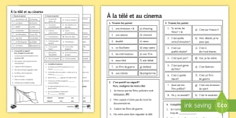 TV and Cinema - French Foundation Tier Activity Sheet - free time, leisure, culture, passe-temps, young people, revision,French, worksheet