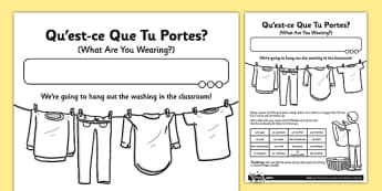 French Qu'est-ce Que Tu Portes? Activity Sheet - french, what are you wearing, clothes, activity, worksheet